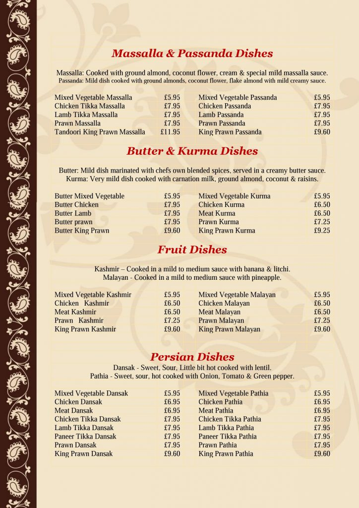 Golden Bengal Oxted Menu - Page 4 of 7