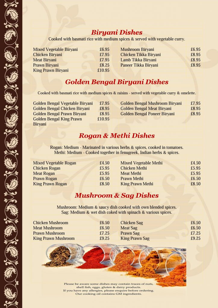 Golden Bengal Oxted Menu - Page 5 of 7