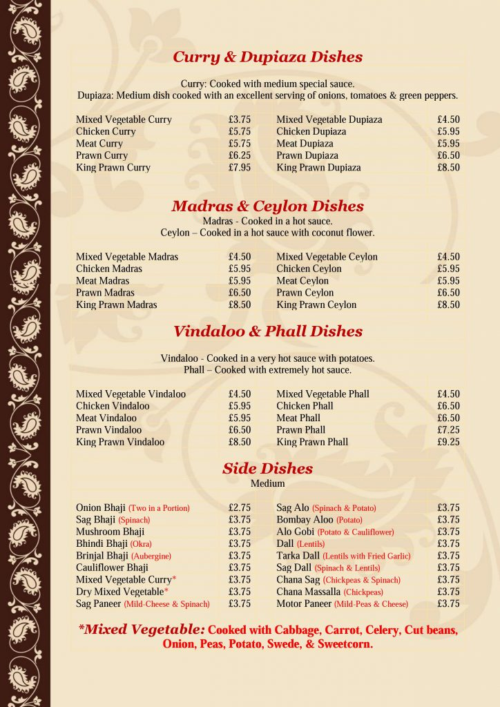 Golden Bengal Oxted Menu - Page 6 of 7