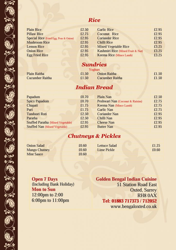 Golden Bengal Oxted Menu - Page 7 of 7