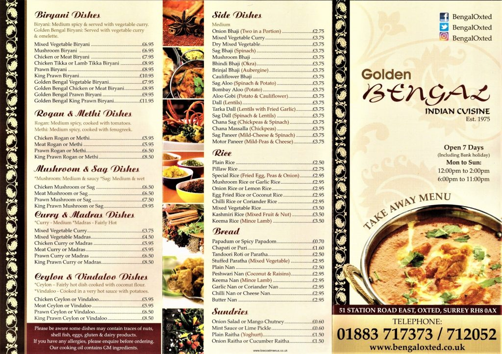 Golden Bengal Oxted Menu - 1